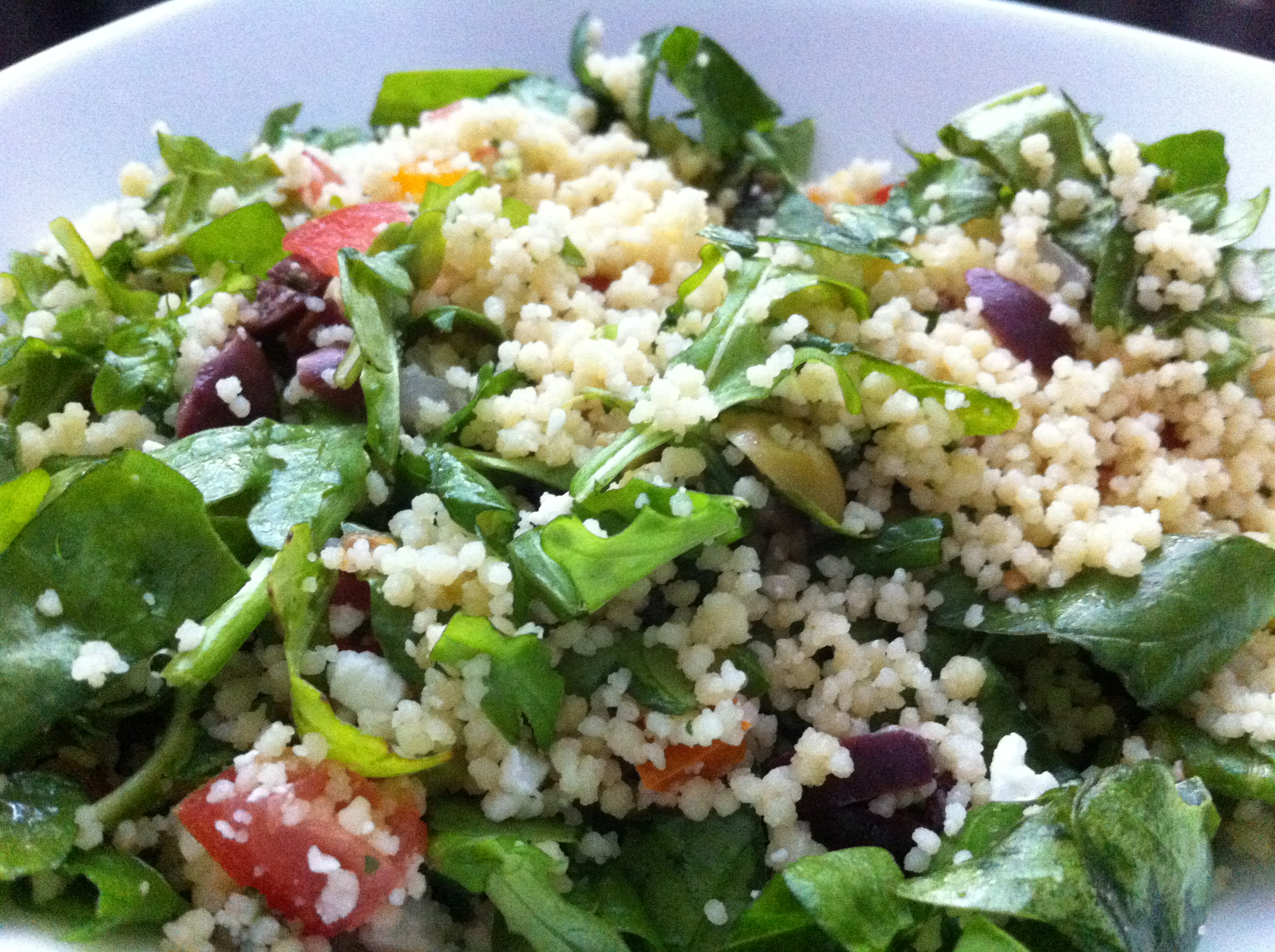 Mediterranean Couscous Salad with Arugula and Spinach