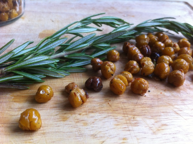 Roasted Chickpeas with Rosemary Sprig